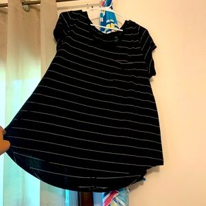 Black and White Striped Tee with Pocket -Dip Brand